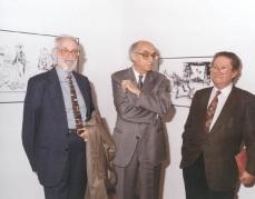 1998 :: Casa América _Madrid| José Luís Sampedro junto a José Saramago y el catedrático Rarael comte
