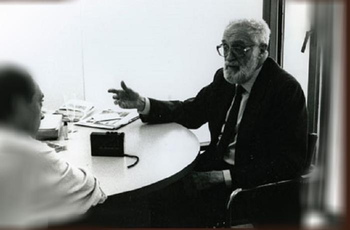 1994_José Luís Sampedro junto a José Rivas durante su entrevista para Ajoblanco